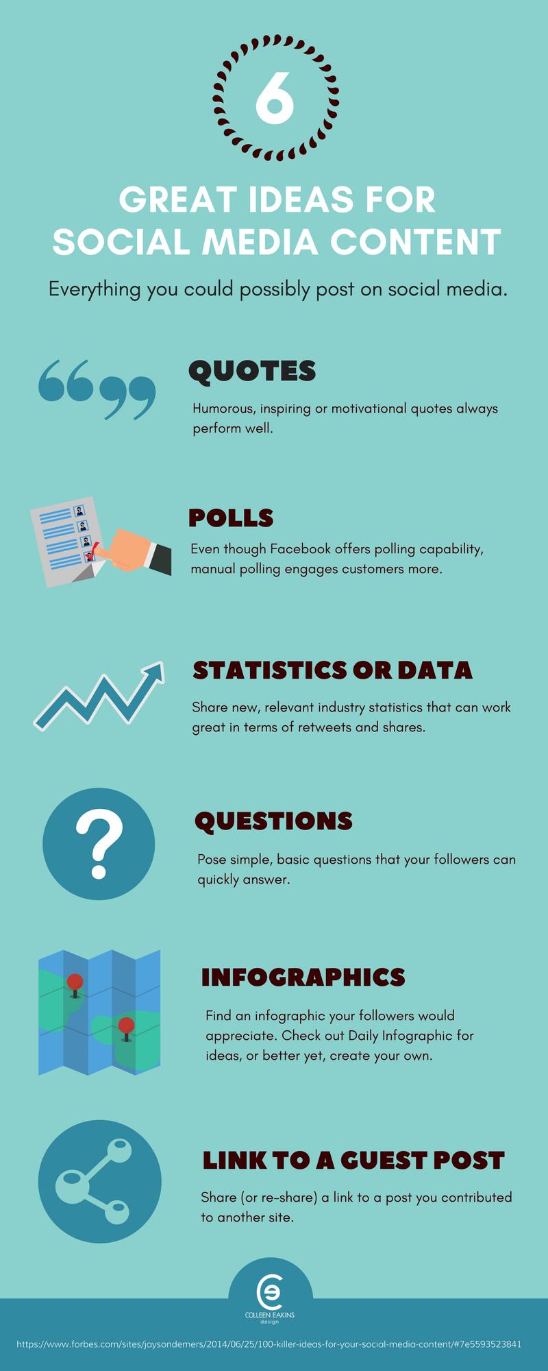 6 Social Media Content Ideas [infographic]   Colleen Eakins Design Blog